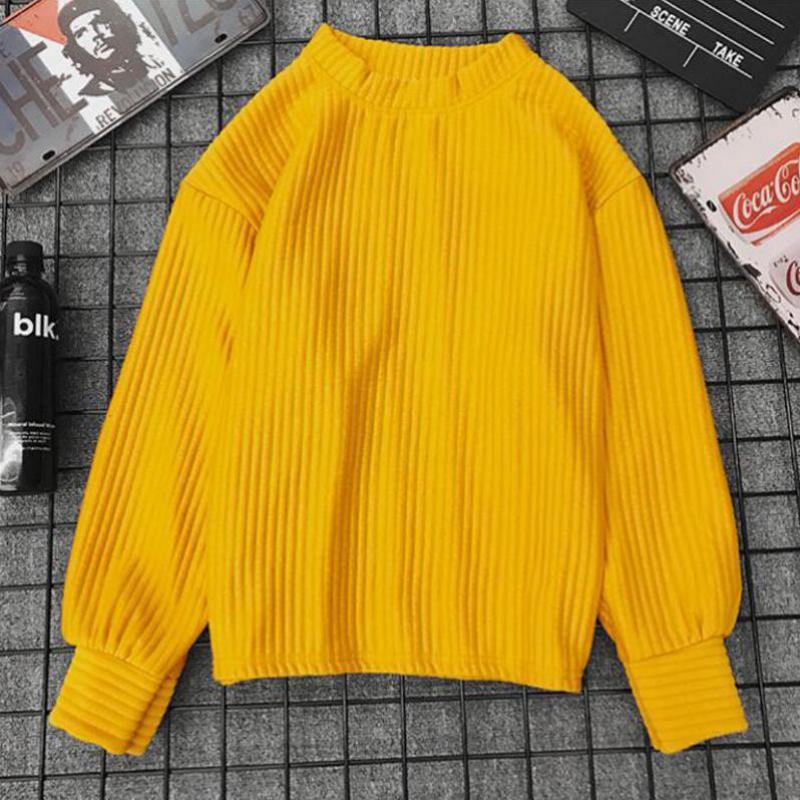 Spring Autumn Korean Yellow Thin Knit Sweater 2018 Solid Color Harajuku Long Sleeve Pullover Sweet Style Clothing Female Tops