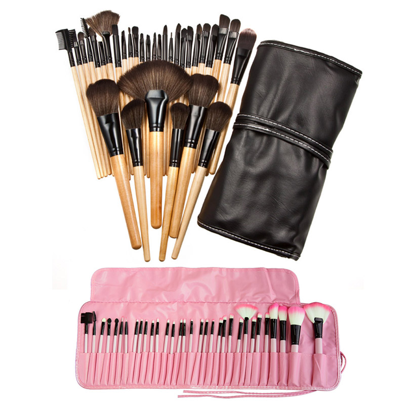 32 Pcs Professional Superior Soft Cosmetic Makeup Brush Set Kit Women Makeup Sets + Pouch Bag Case 88 HJL2017 12pcs professional soft cosmetic face brush finishing powder blush brush sets for women with red cloth bag
