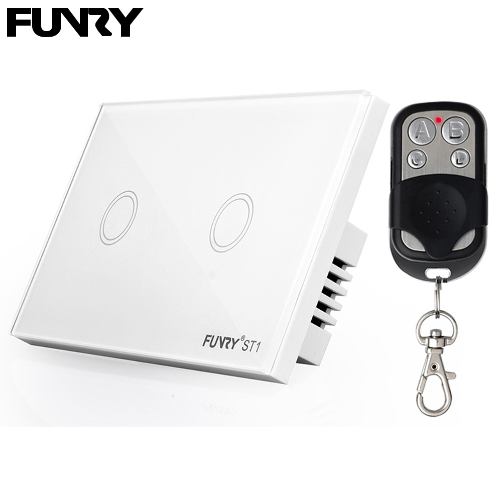 FUNRY US/AU Standard 2 Gang 1 Way Crystal Glass Panel Remote Switch, Remote Wireless Light Switch,  Wall Switch For Smart Home funry us au standard remote switch crystal glass panel wall light touch switch 2 gang 1 way compatible broadlink rm2 rm pro