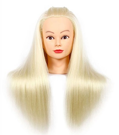 """CAMMITEVER 20"""" Light Golden Hair Models Made Wigs Female Mannequin Head Display Training Head For Hairdressers"""