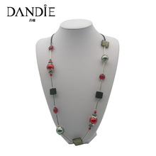Dandie Fashion Red And Grey Pearl Necklace, Handmade Necklace With Glass Bead Wooden Acrylic Square Jewelry New Arrival