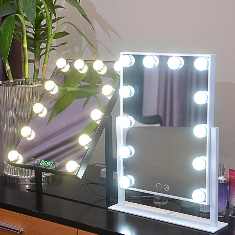 Professional Hollywood Large LED Makeup Mirror 12Big Bulbs Vanity mirror Cosmetic Mirror swap touch screen With ClockProfessional Hollywood Large LED Makeup Mirror 12Big Bulbs Vanity mirror Cosmetic Mirror swap touch screen With Clock