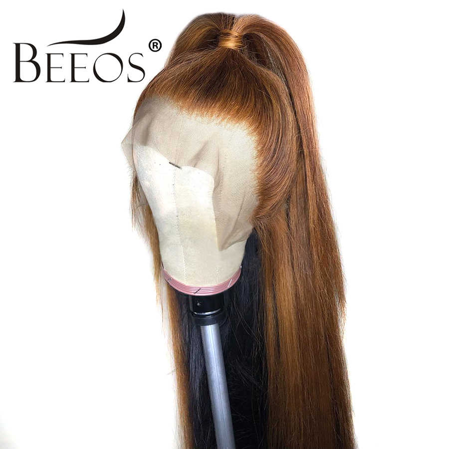 Beeos бразильские волосы remy 13*6 глубокая часть парик фронта шнурка прямой медовый блонд цвет Предварительно сорвал отбеленные узлы парики шнурка