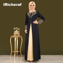 IRicheraf Исламская Костюмы Абаи Дубайский Мусульманский платье для взрослых арабское платье Для женщин скромные Костюмы элегантный бронзовые платья черный