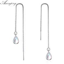 ANENJERY – boucles d'oreilles en forme de goutte d'eau pour femme, chaîne en argent Sterling 925, motif pierre de lune