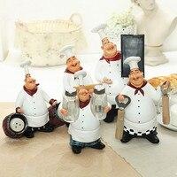 Vintage Chef Resin Crafts Chef Ornaments Furniture Figurine Decoration Cook Kitchen Restaurant Bar Cafe 5Pcs/set L3237