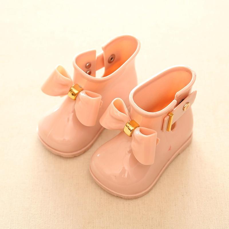 Mini Melissa Cute Girls Rain Boots Bow Shoes Baby boys Jelly Shoes ANTI SKID Boots Mini