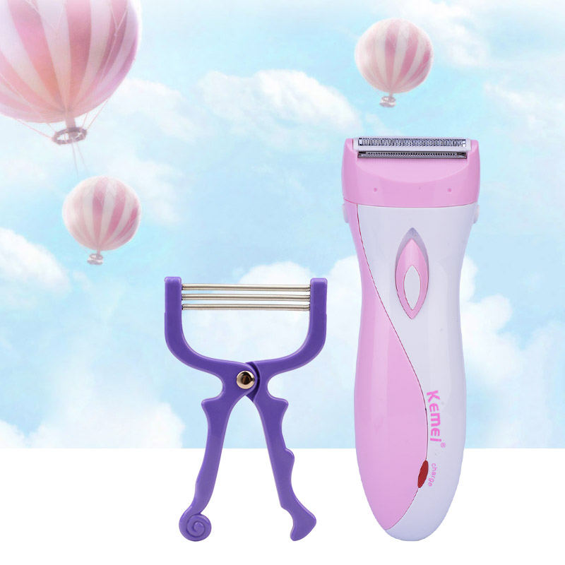 Waterproof Electric Lady Shaver Rechargeable Women Shaver Shaving Razor+Face Body Hair Remover Threading Epilator Defeatherer