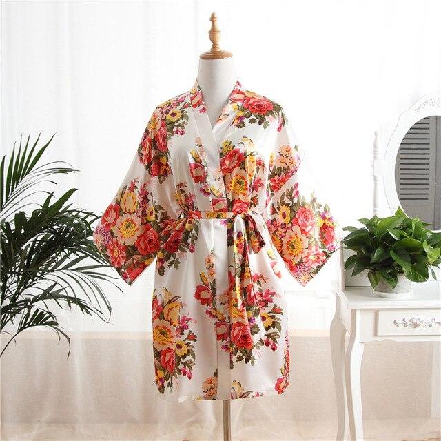 d2943132c49db Femmes soie Satin Floral mariage mariée demoiselle d'honneur Robe peignoir  court Kimono Robe de