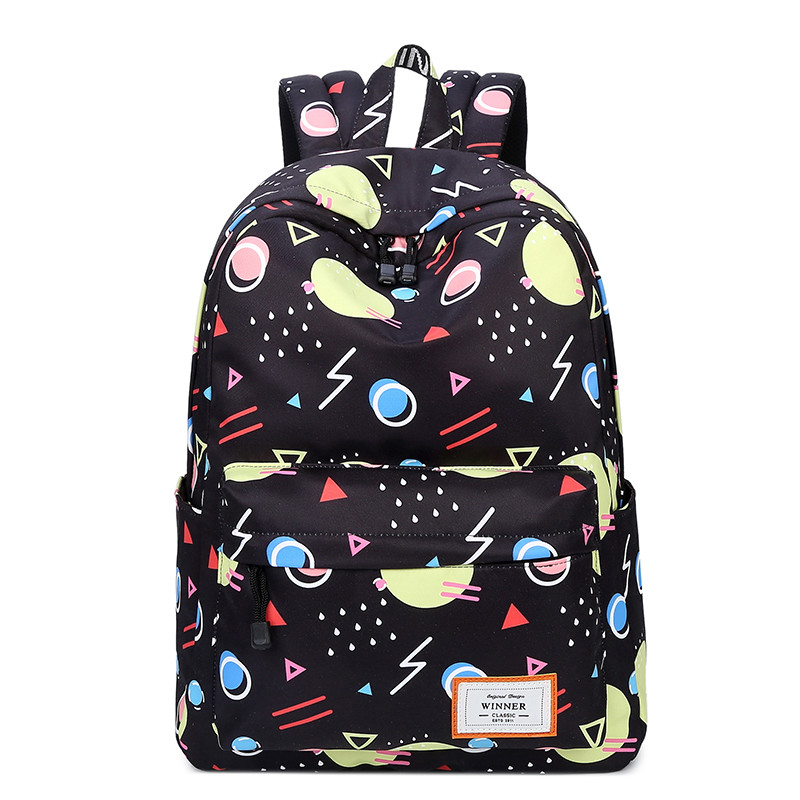 JCPAL Fashion Backpack Geometric Printing Women Backpacks School Bags Bookbag for Teenagers Girls Laptop Backbag Travel Daypack
