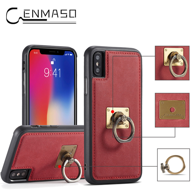 For iphone X 10 case for iphone 6 6S 7 8 plus soft silicon PU leather magnetic back cover case with metal ring anti-knock funda