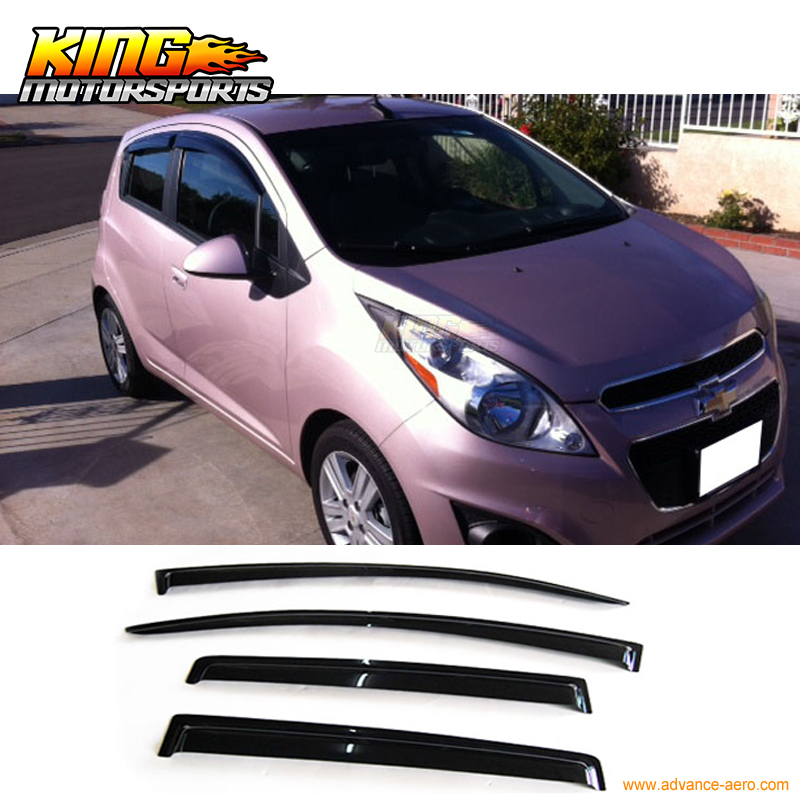 Fit 2013 2015 Chevy Spark Smoke Rain Guard Vent Shade Sun Window Visor 4Pcs window vent visors rain window guards window guard - title=