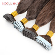 Mogul Hair Tape Hair Extensions Color 2 Dark Brown Indian Remy Hair Straight 50g/set 2.5g/pc Tape in Human Hair Extension(China)