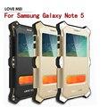 MK2 amor Mei Poderosa À Prova de Choque Silicone + De Metal De Alumínio Para samsung galaxy note 5 n9200 com pu capa de couro da aleta case