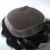 Купить отдать Размеры 5 * 8and 6 * 8and 7*9and10 x 8 Remy для мужчин парик черный Цвет Швейцарский Кружево + PU База Бесплатная доставка Системы