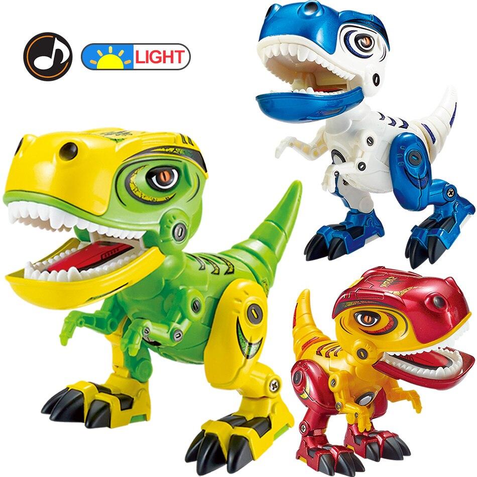 Electronic Flashing Dinosaur Action Toy Figures Alloy Body