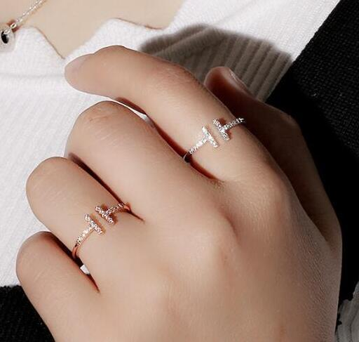 AAA Quality Fashion Double T Knuckle Ring Micro Mosaic Premium Zircon Crystals O