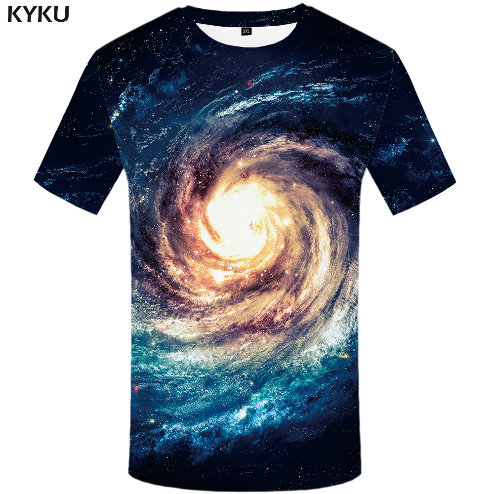 KYKU Galaxy   T     Shirt   Men Space   T  -  shirts   Anime Clothes Nebula 3d   T  -  shirt   Punk Rock Tshirt Fitness Mens Clothing 2018 Summer Tops