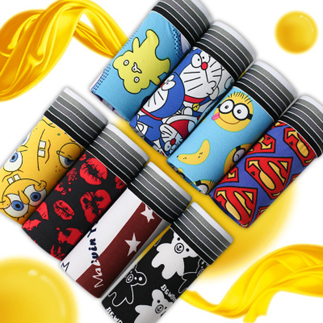 Funny Cartoon Male Printed full Trunk Low-waist Boxers