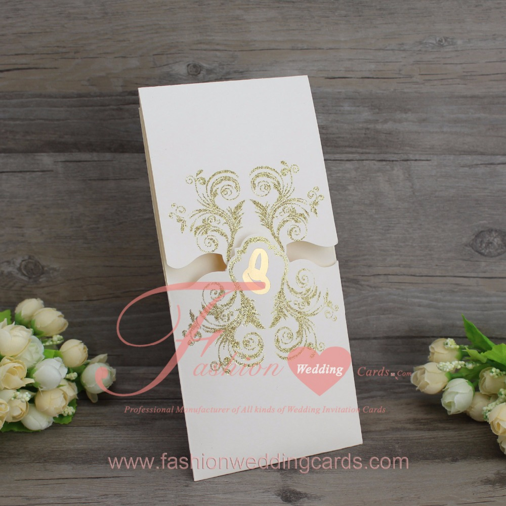 1PCS Flower Gold Foiling Printing Romantic Invitations for Party or ...