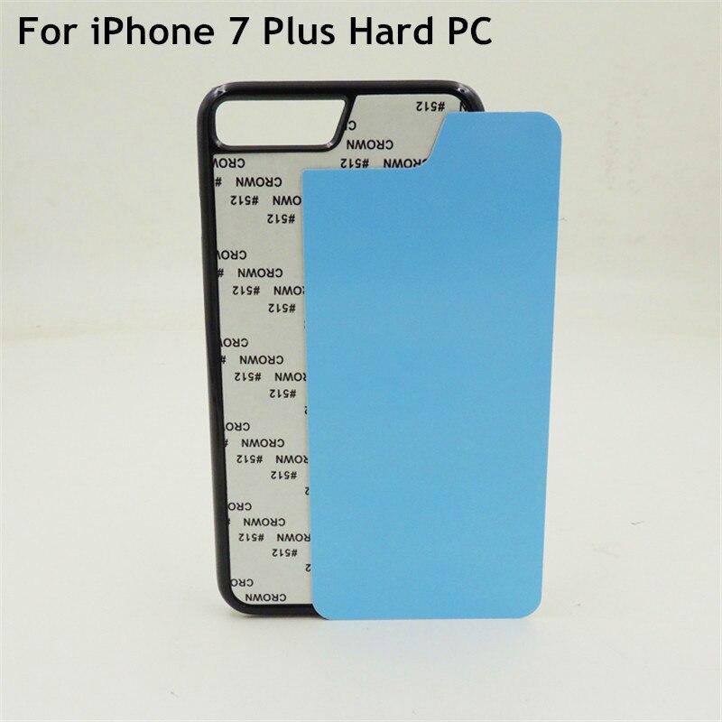 imágenes para 10 unids/lote 2D Sublimación Caja de Plástico Blanco Para el iphone 7 Plus de 5.5 pulgadas Tapa Dura Inserciones De Aluminio y Pegamento