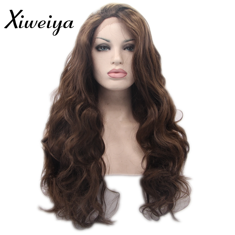 Xiweiya 6 color long wavy synthetic lace front wigs coffee brown long brown glueless heat resistant