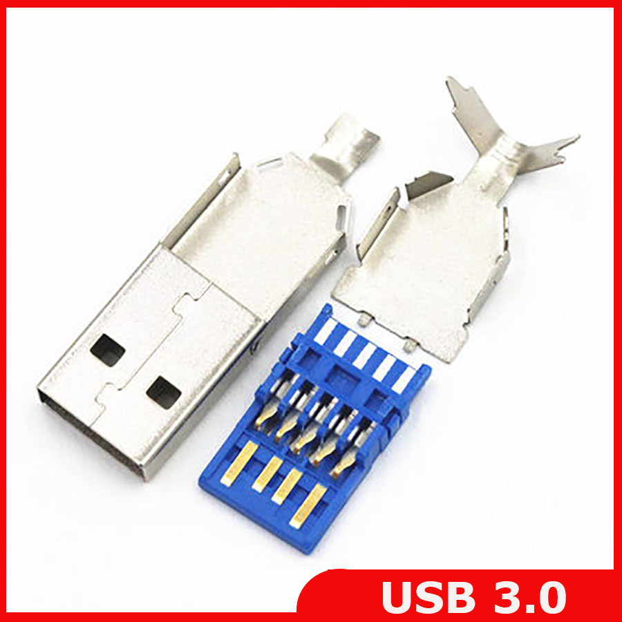 Free shipping 30pcs/lot DIY USB 3.0 male connector jack soldering type  socket 3 in 1 for DIY USB 3.0 Cable-in Connectors from Lights & Lighting on  ...