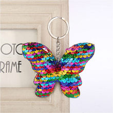 1pcs Iridescent Color Plush Keychain Pendant Key Buckle Butterfly Keyboard Reflective Butterfly Knot Keychain(China)