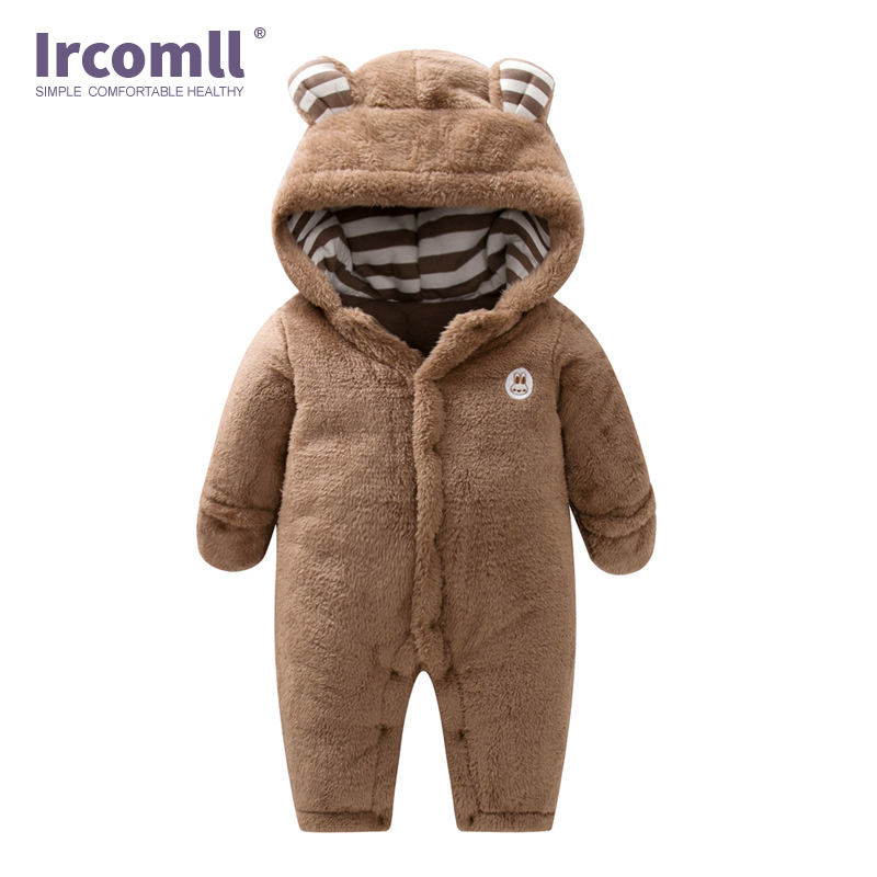 3-24M Infant Boys Girls Jumpsuit Autumn and winter Hooded Fleece Cute Newborn Baby Rompers Kids Toddler Clothes Children Climbin autumn winter baby clothes toddler boys girls rompers one piece letter printed long sleeve jumpsuit kids baby outfits clothing
