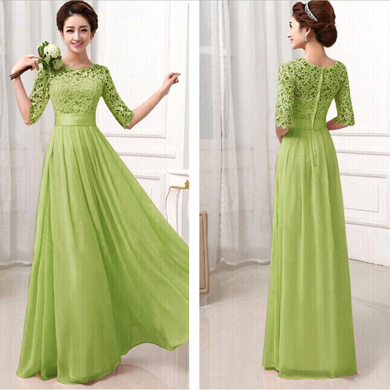Hot Sale Women Elegant Lace Long Maxi Dresses Hollow Out Chiffon ... 4a2b1a3f8c6c