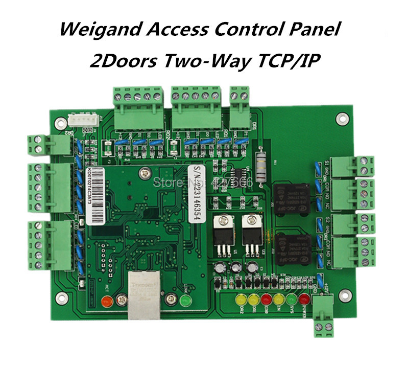 TCP/IP Wiegand 2 Doors access control board / Two Doors access controller / Access Control Panel With Free software sdk two doors two ways input output ports 30000 user tcp ip network zk c3 200 door access control board