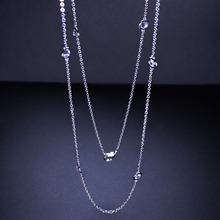 High quality long chain necklace bezel cz station 90cm 80cm chain statement necklace fashion jewelry for women PWX03201B