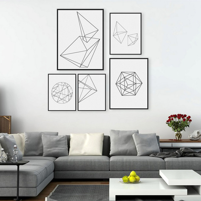Nordic Minimalist Black White Geometric Shape Art Prints Poster Abstract Wall Picture Canvas Painting Home Decor