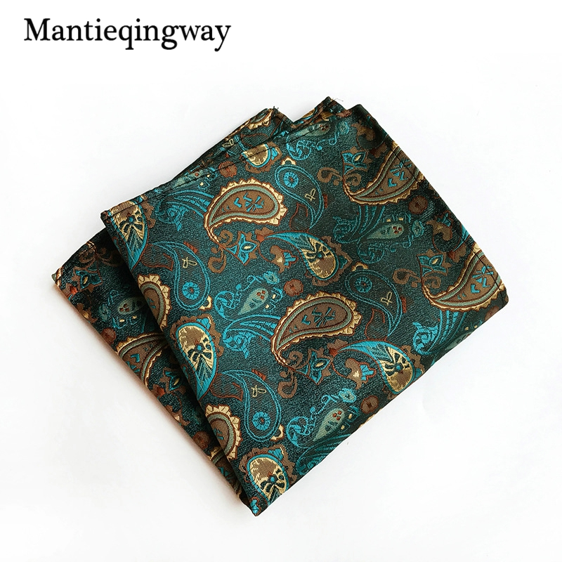 Mantieqingway Mens Paisley Floral Printed Handkerchiefs For Mens Cashew Pocket Square Polyester Pocket Towel Chest Towel Hanky