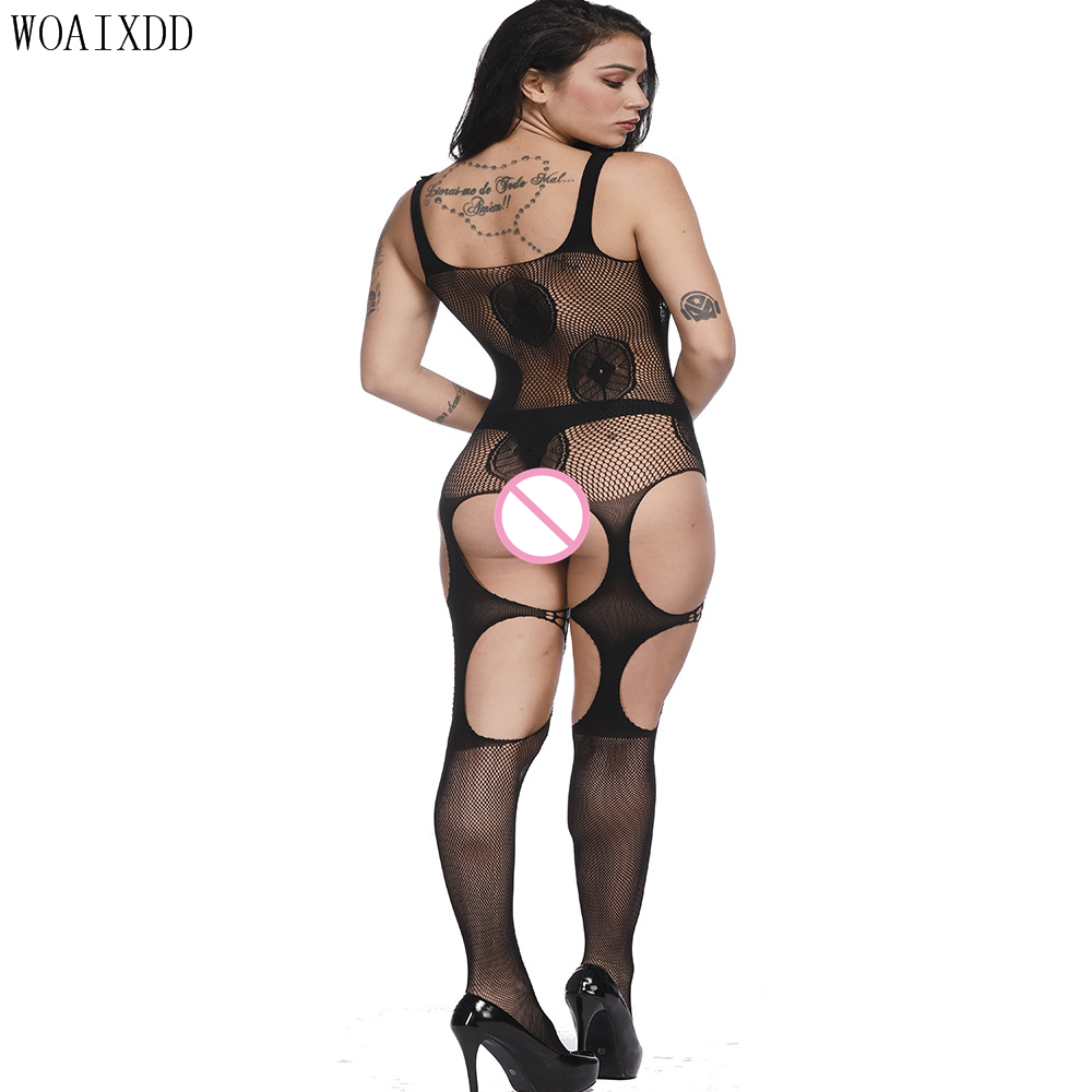Body Stocking Women Bodysuits crotchless Lingerie Sexy Hot Erotic Halter Transparent Sexy plus size Fishnet Bodystocking image