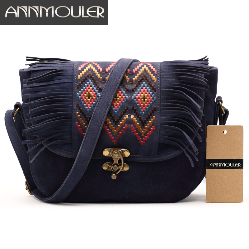 Annmouler Vintage Women Bag High Quality Small Shoulder Bag Faux Suede Retro Crossbody Bag Bohemian Style Messenger Bags Girls auau new bags women skull head shoulder crossbody small personalized messenger bag handbag hight quality vintage cute style 2017