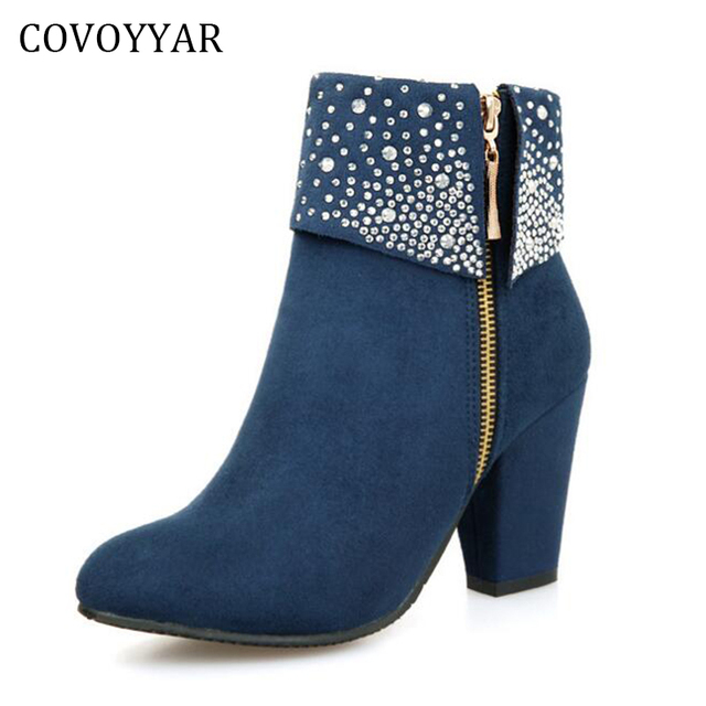 Women's Fashion Rhinestone Solid Upper Pointed Toe Zipper High Heel Ankle Boots