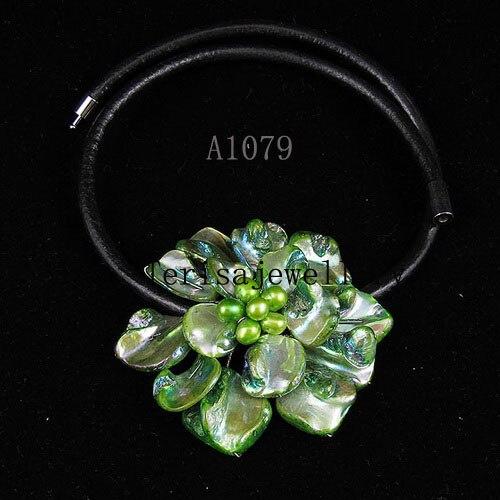 Идеальное ожерелье в виде цветка из натуральной раковины, белое ожерелье из пресноводного жемчуга, ювелирные изделия из черной кожи, новинка - Окраска металла: green shell flower