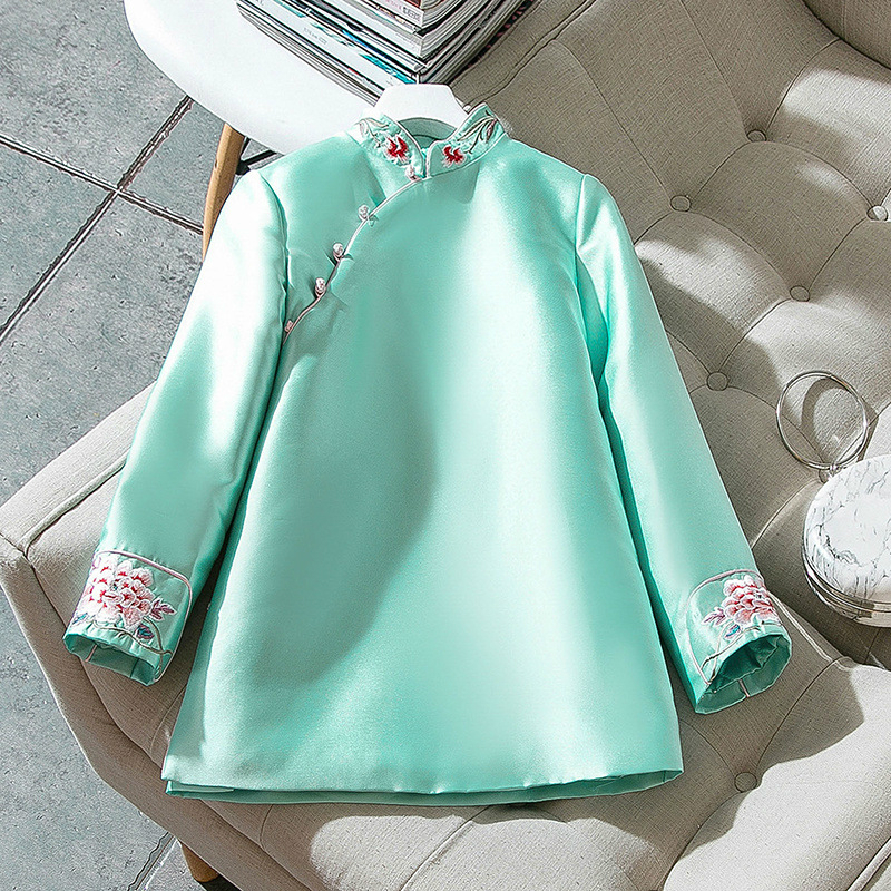 Autumn Winter Velvet Silk Chinese Tea Service Jacket Women Slim Tang Suit Chinese Wind Plate Buckle National Wind Shirt Qipao in Cheongsams from Novelty Special Use