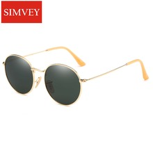 Simvey 2017 Brand Designer Round Wire Frame Mirror Sunglasses 3447 Retro Women Men Polarized Sunglasses Circle Sunglasses Shades
