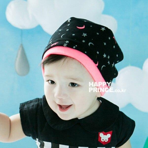Unisex Baby Girl Boy Cotton Hat Soft Moon Stars Print Beanie Cap