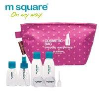 M Square Travel Cosmetic Bag Makeup Bag Organizer Cosmetics Wash Bag Organizer Refillable Bottles Set Perfume