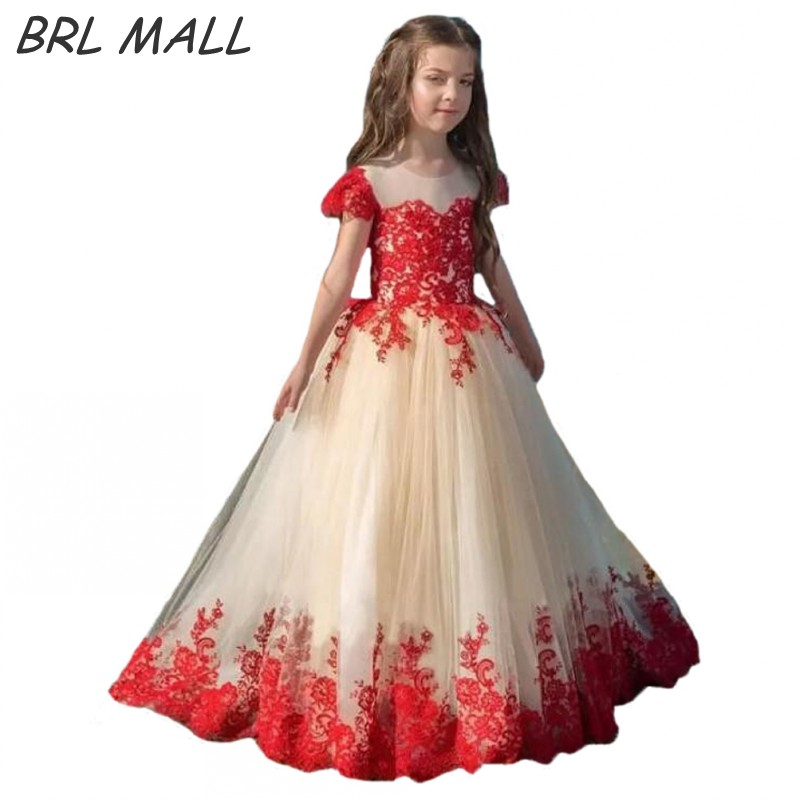 New Arrival Champagne girls dresses for party red lace appliques ...