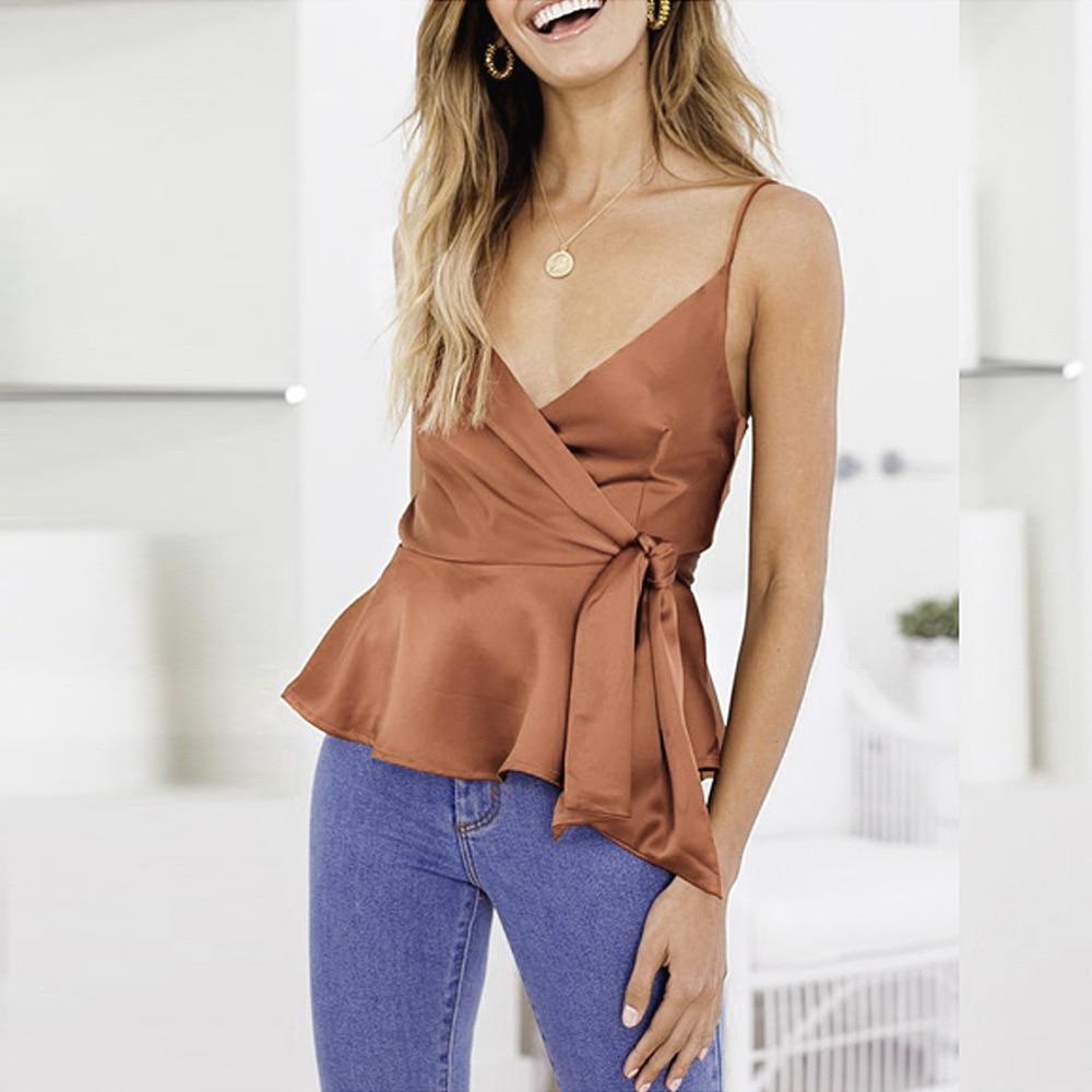 FORERUN Satin Blouse Women Summer Ruffle Wrap Top Silk Spaghetti Strap Solid Ladies Blouses Backless Blusa Mujer Elegante Shirts