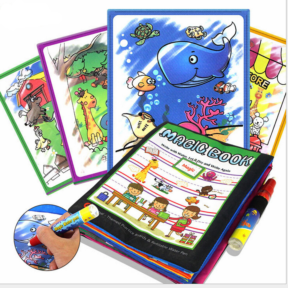 Magic Water Drawing Book Coloring Book Doodle with Magic Pen Animals Painting Board Juguetes For Children Education Drawing Toy цена