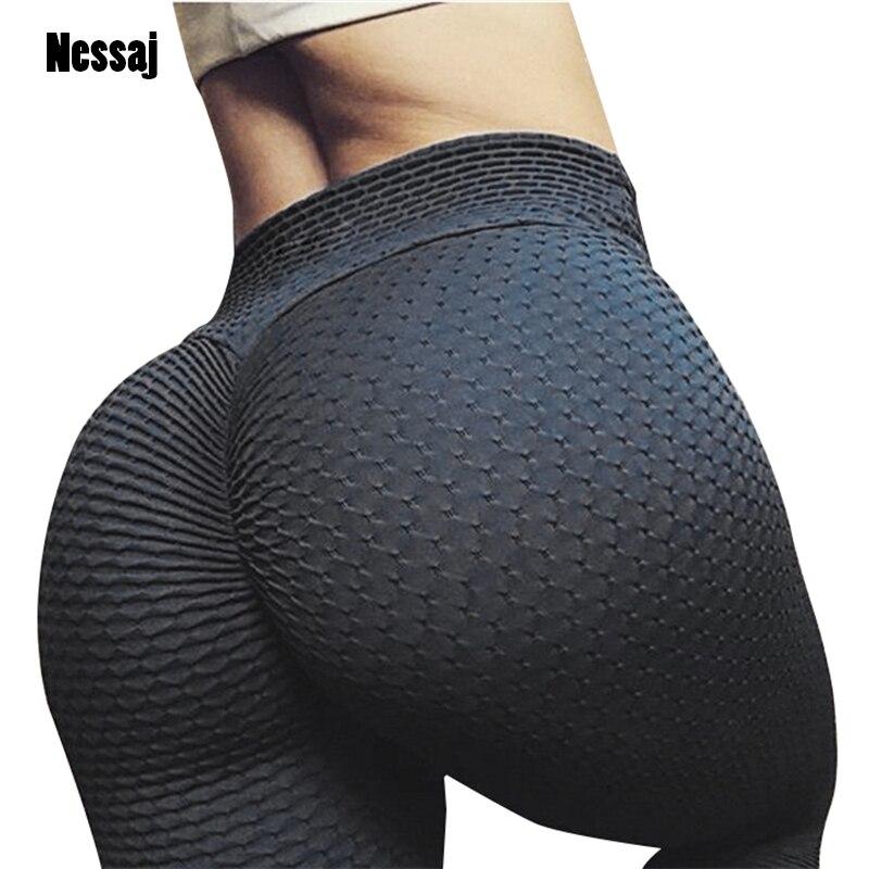 Nessaj Sexy Push Up Women Leggings Casual Slim Fit Pants Plaid Wrinkle Leggings Solid Color High Waist Workout Leggings