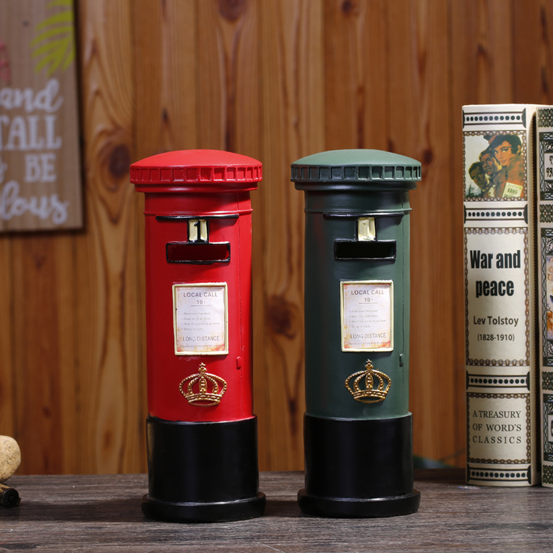 Vintage Mail Box Money Box Ornaments Coin Piggy Bank Money Saving Box Toy Exhibition Wine Rack Decor Gift For Kids Birthday Gift