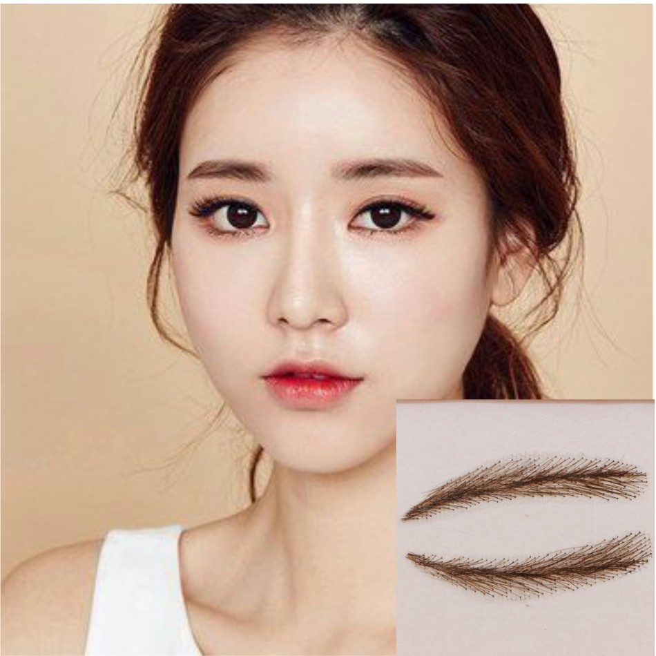 FIXVIC Chestnut Brown 100% Human Hair Natural False Eye Brow Eyebrow Wig Meticulously handmade The closest thing to real eyebrow