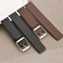 neway Genuine Leather Watch Band Wrist Strap 16 18 20 22 24mm stainless steel Clasp Buckle Replacement Bracelet Belt Black Brown