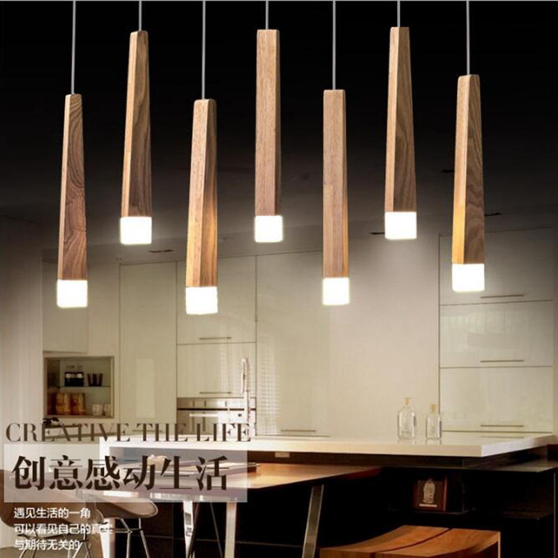 LukLoy Wood Stick Pendant Lamp Lights, Kitchen Island Living Room Shop Decoration, Modern Natural Wood Pipe Pendant Lights